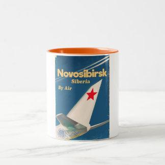 Novosibirsk Siberia soviet union flight poster Two-Tone Coffee Mug