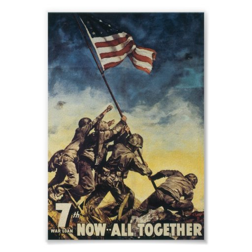 Now All Together World War 2 Postcard Poster