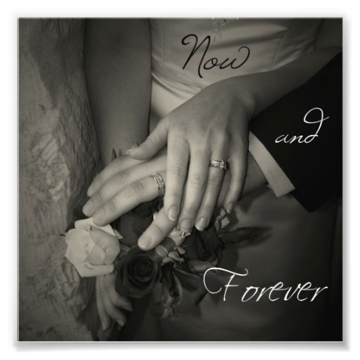 Now and Forever Wedding Hands I Love You Square Art Photo