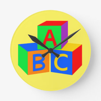 """""""Now I Know My ABCs"""" Colorful Wall Clock"""