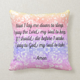 Now I lay Me Down Bedtime Prayer Pillow REVERSIBLE