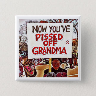 Now you've pissed off grandma 2 inch square button