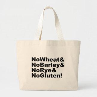 NoWheat&NoBarley&NoRye&NoGluten! (blk) Large Tote Bag