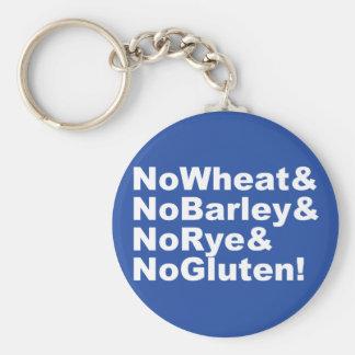 NoWheat&NoBarley&NoRye&NoGluten! (wht) Keychain