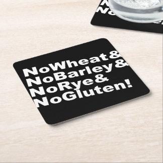 NoWheat&NoBarley&NoRye&NoGluten! (wht) Square Paper Coaster