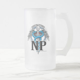 NP Blue Caduceus Frosted Glass Beer Mug