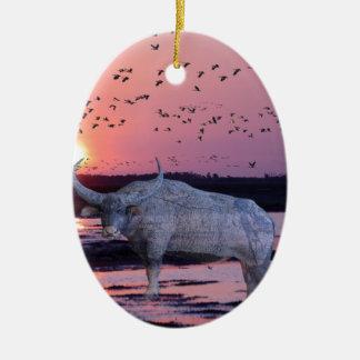 NT Buffalo Ceramic Oval Ornament