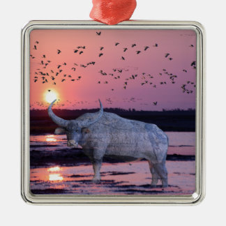 NT Buffalo Silver-Colored Square Ornament