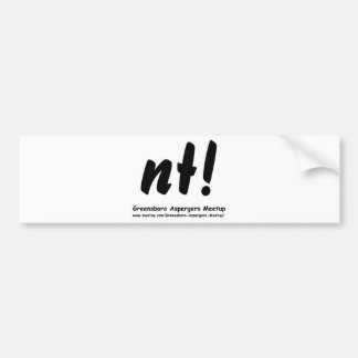 nt! Greensboro Aspergers Meetup and web Bumper Sticker