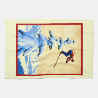 ntage ski poster, ski jumper kitchen towel