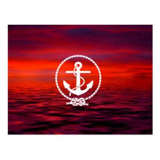 Nuage coloré de beau d'ancre lever de soleil de carte postale