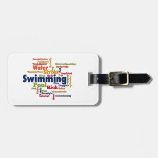 Nuage de mot de natation étiquette pour bagages
