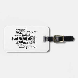 Nuage de mot de natation étiquettes bagages