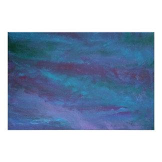 Nuage de pluie turquoise pourpre bleu énergique de photo sur toile