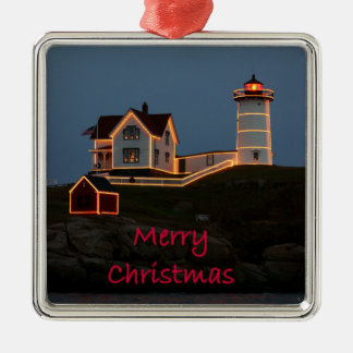 Nubble Light Christmas Metal Ornament