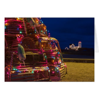 Nubble Light Decorated At Night Card