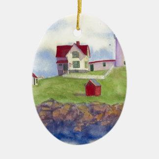 Nubble Light House York Maine Ceramic Oval Ornament