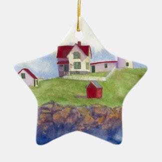 Nubble Light House York Maine Ceramic Star Ornament