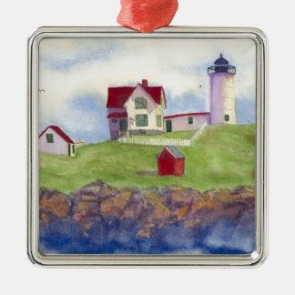 Nubble Light House York Maine Silver-Colored Square Ornament