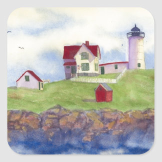 Nubble Light House York Maine Square Sticker