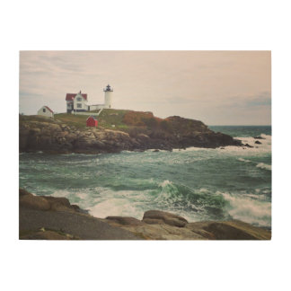 Nubble Light - York, Maine 24 x 18 Wood Wall Art Wood Canvases