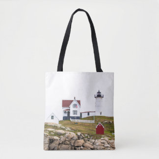 Nubble Lighthouse All Over Print Tote Bag