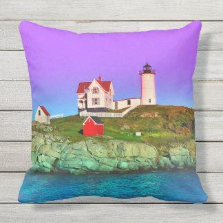Nubble Lighthouse at Sunset Throw Pillow