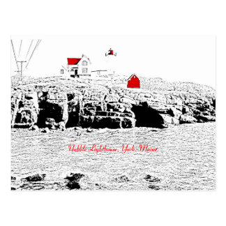 Nubble Lighthouse, York, Maine - Postcard