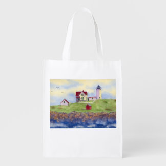 Nubble Lighthouse York Maine Reuseable Grocery Bag