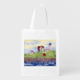 Nubble Lighthouse York Maine Reuseable Grocery Bag
