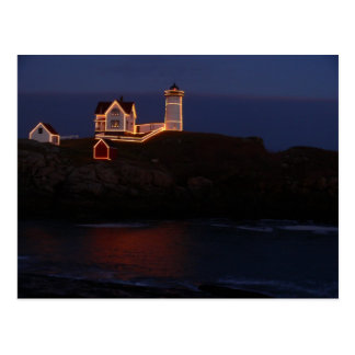 Nubbles Lighthouse Postcard-Holiday Lights Postcard