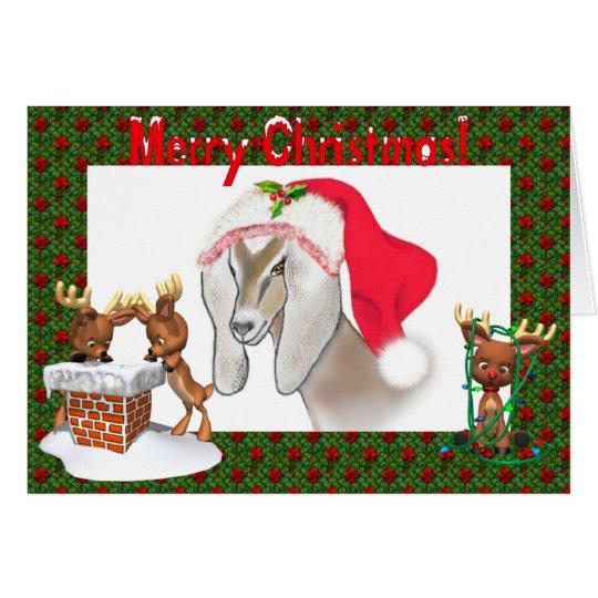 Nubian Goat Art Christmas Card