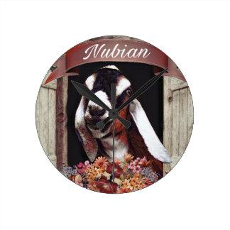 Nubian Goat Round Clock