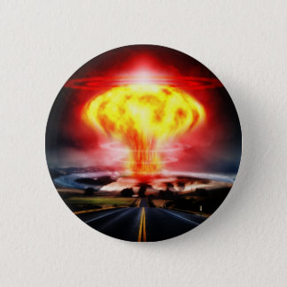 Nuclear explosion mushroom cloud illustration 2 inch round button