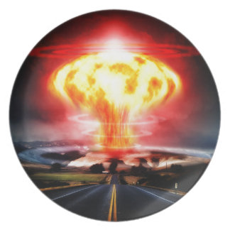 Nuclear explosion mushroom cloud illustration party plate