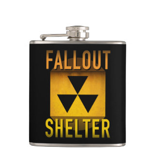 Nuclear Fallout Shelter Retro Atomic Age Grunge : Hip Flask
