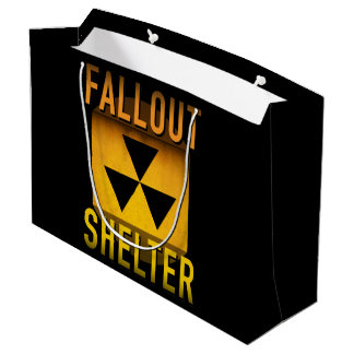 Nuclear Fallout Shelter Retro Atomic Age Grunge : Large Gift Bag