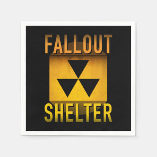 Nuclear Fallout Shelter Retro Atomic Age Grunge : Paper Napkin