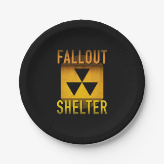 Nuclear Fallout Shelter Retro Atomic Age Grunge : Paper Plate