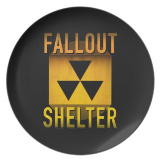 Nuclear Fallout Shelter Retro Atomic Age Grunge : Plate