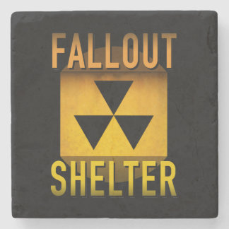 Nuclear Fallout Shelter Retro Atomic Age Grunge : Stone Coaster