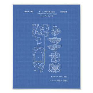 Nuclear Fission 1956 Patent Art Blueprint Poster