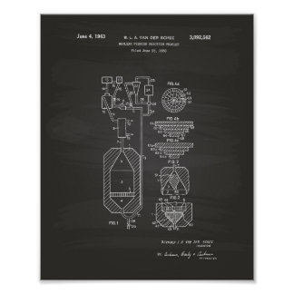 Nuclear Fission 1956 Patent Art Chalkboard Poster