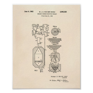 Nuclear Fission 1956 Patent Art Old Peper Poster