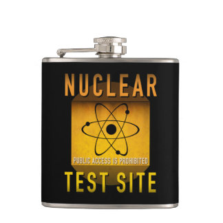 Nuclear Test Site Retro Atomic Age Grunge : Hip Flask