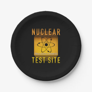 Nuclear Test Site Retro Atomic Age Grunge : Paper Plate