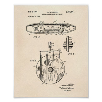 Nuclear Water Jet Engine 1959 Art  Old Peper Poster