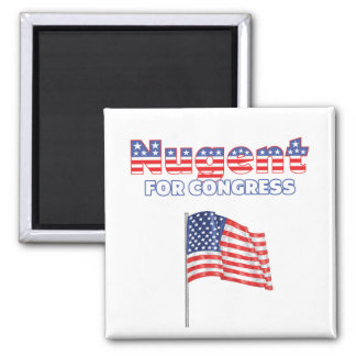 Nugent for Congress Patriotic American Flag Design Square Magnet