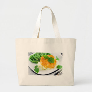 Nuggets of chicken, mashed potatoes and green bean large tote bag
