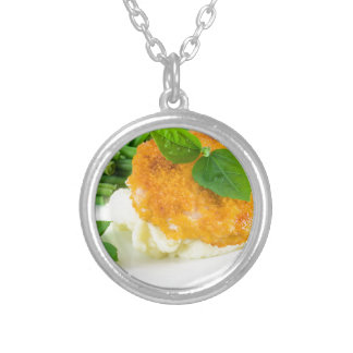 Nuggets of chicken, mashed potatoes and green bean silver plated necklace